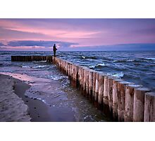 Sunset fishing on breakwater Photographic Print