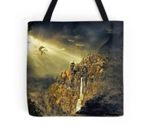Dragon against man Tote Bag