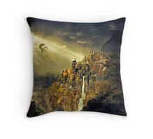 Dragon against man Throw Pillow