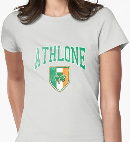 Athlone, Ireland with Shamrock Womens Fitted T-Shirt