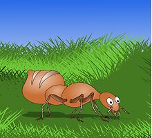 Ant smiling in tall green grass by piedaydesigns