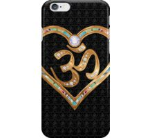 Two golden hearts centered in OM, with OM repetition background iPhone Case/Skin
