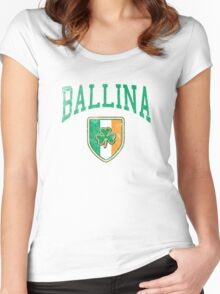 Ballina, Ireland with Shamrock Women's Fitted Scoop T-Shirt
