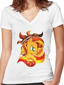 Sunset Shimmer Women's Fitted V-Neck T-Shirt