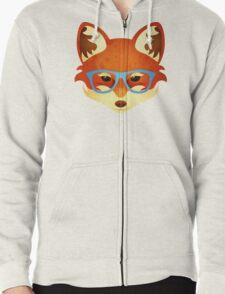 Hipster Fox Zipped Hoodie