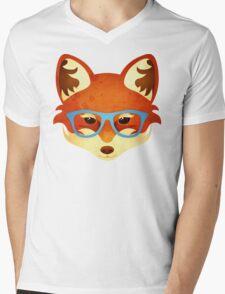 Hipster Fox Mens V-Neck T-Shirt