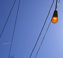 Light and Wires with Contrail by rdshaw