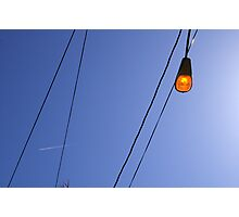Light and Wires with Contrail Photographic Print