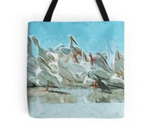White Pelicans and Black Cormorant Abstract Impressionism Tote Bag
