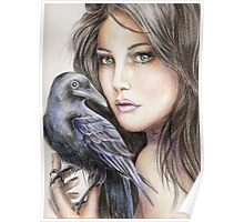 Girl with crow Poster