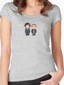 Sherlock and John mini people (shirt) Women's Fitted Scoop T-Shirt