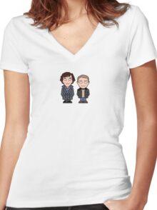 Sherlock and John mini people (shirt) Women's Fitted V-Neck T-Shirt