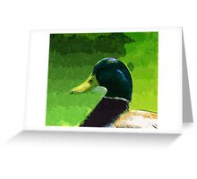 Male Mallard Duck Abstract Impressionism Greeting Card