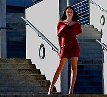 Fashion shot of Chloe Jane Telstra Dome Steps by Tony Lin