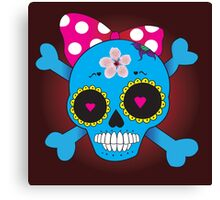 Girly skull with bow Canvas Print
