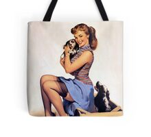 Gil Elvgren pin up with Puppies! Tote Bag