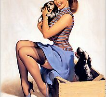 Gil Elvgren pin up with Puppies! by RookieRomance