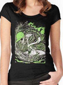 SURFER SKULL GREEN Women's Fitted Scoop T-Shirt