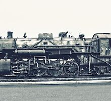 Steam Locomotive in Black and White by Kadwell