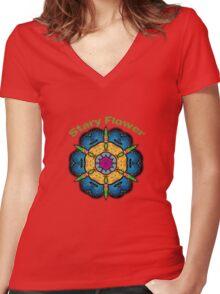Stary Flower Women's Fitted V-Neck T-Shirt