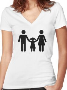 Parents child daughter Women's Fitted V-Neck T-Shirt