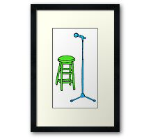 Stand Up Comedy Stool and Mic.  Framed Print