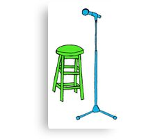 Stand Up Comedy Stool and Mic.  Canvas Print