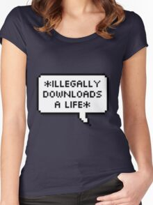 ✘ illegally downloads a life ✘ Women's Fitted Scoop T-Shirt