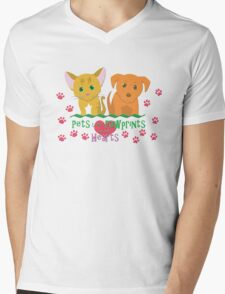 Pets Leave Pawprints Mens V-Neck T-Shirt