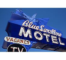 Route 66 - Blue Swallow Motel Neon Photographic Print