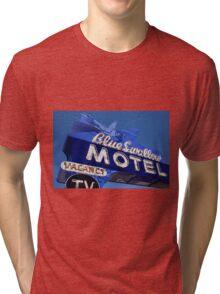 Route 66 - Blue Swallow Motel Neon Tri-blend T-Shirt