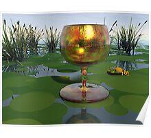 Golden Glass on Pond Poster
