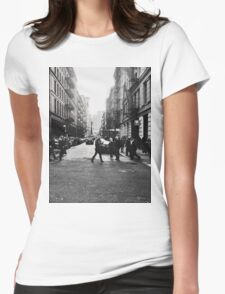 Black and White City Womens Fitted T-Shirt