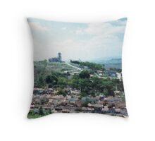 Town below the church Throw Pillow