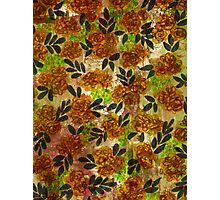 GRUNGE FLOWERS 1 Colorful Avocado Grass Green Brown Beige Pink Floral Pattern Abstract Flowers Photographic Print