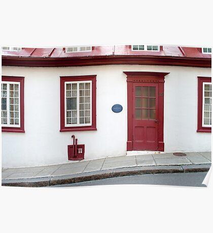 Old Quebec Door Red & White Poster
