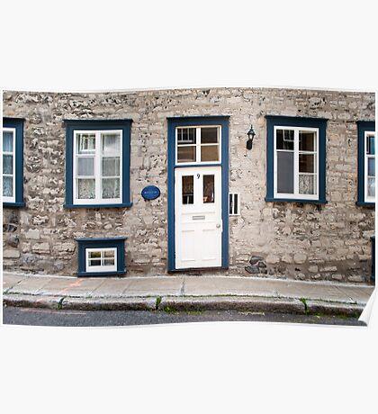 Old Quebec Door Blue & White Poster