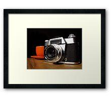 Vintage SLR and Coffee Framed Print