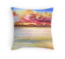 Sunset seascape watercolour painting Throw Pillow
