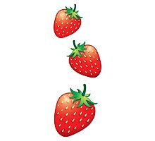 3 Strawberries fruit down Photographic Print