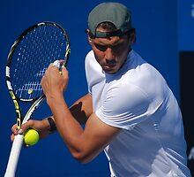 Rafael Nadal practicing at the Australian Open 2014 by peruna