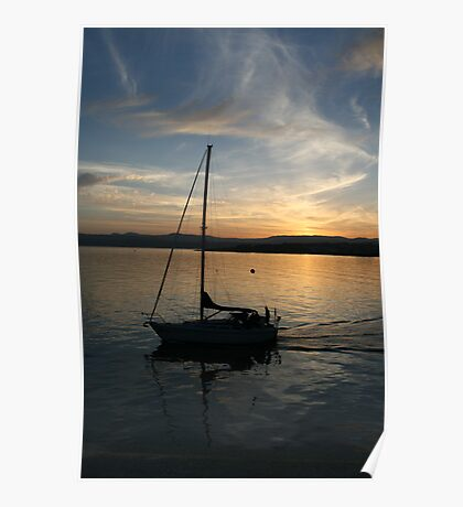 Sailing by Sunset Poster