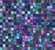 Blue and Pink Square Tile Mosaic Pattern by TigerLynx