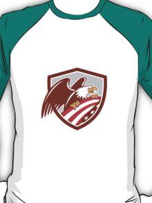 American Bald Eagle Clutching USA Flag Shield Retro T-Shirt