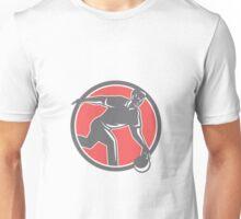 Bowler With Bowling Ball Circle Retro Unisex T-Shirt