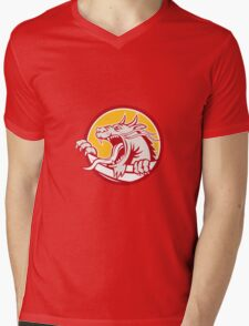 Chinese Red Dragon Head Growling Circle Retro Mens V-Neck T-Shirt