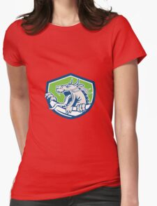 Chinese Dragon Head Growling Shield Retro Womens Fitted T-Shirt