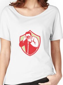 Photographer Shooting Camera Shield Retro Women's Relaxed Fit T-Shirt