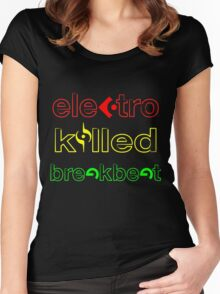 Electro Killed Break Beat Women's Fitted Scoop T-Shirt