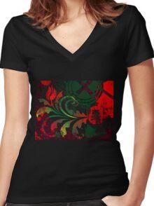 grunge tulip Women's Fitted V-Neck T-Shirt
